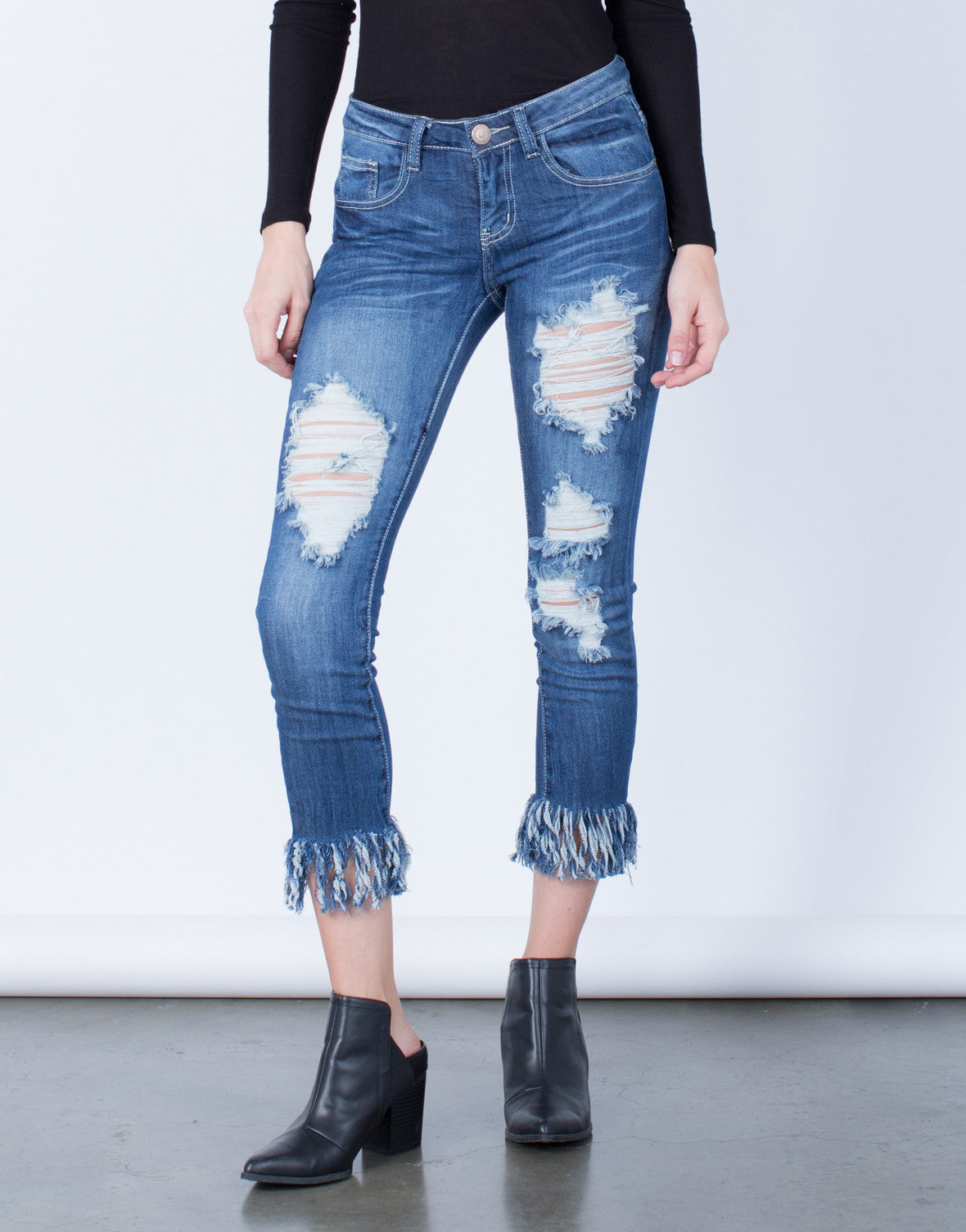 Front View of Medium Wash Destroyed Skinny Jeans