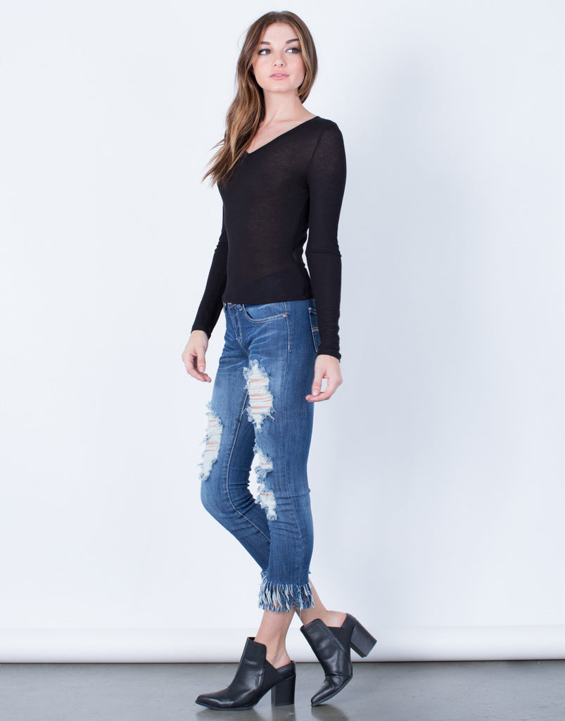 Super Frayed Cropped Jeans - 2020AVE