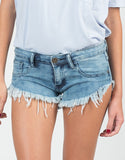 Detail of Medium Washed Frayed Denim Shorts