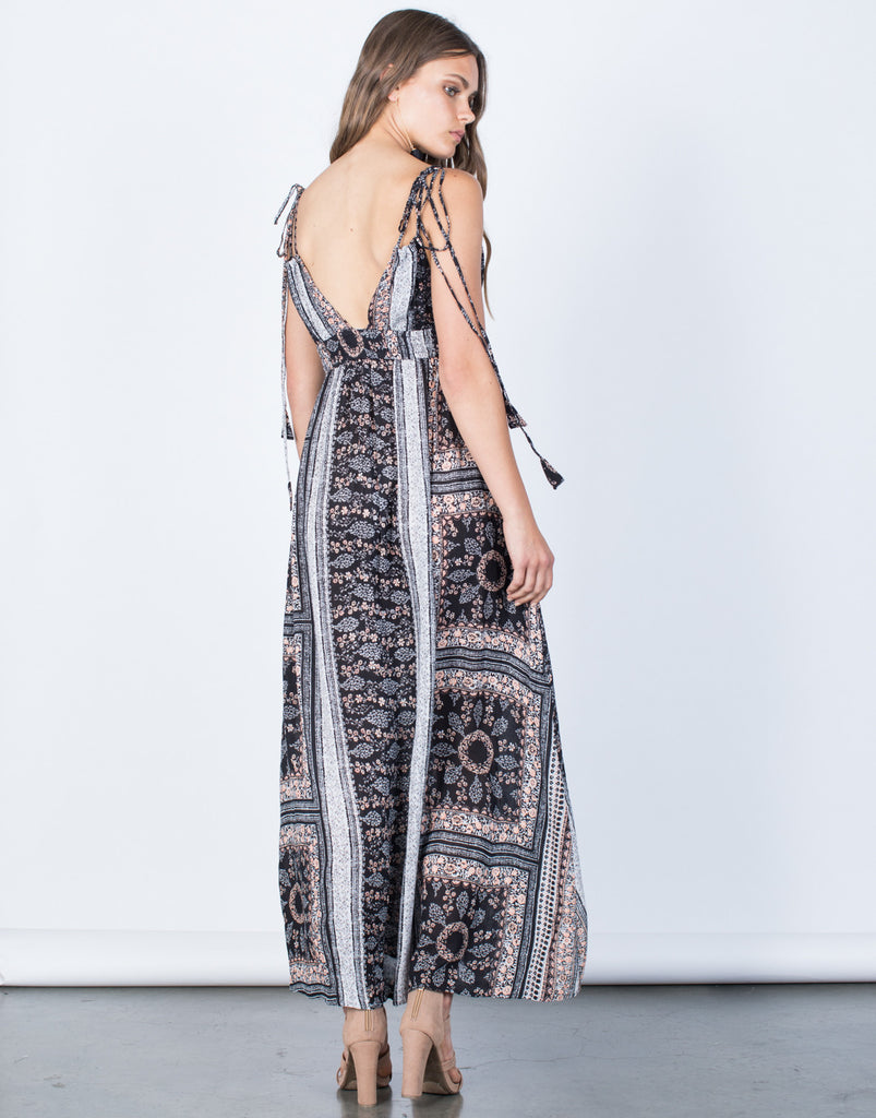 Back View of Melissa Floral Maxi Dress