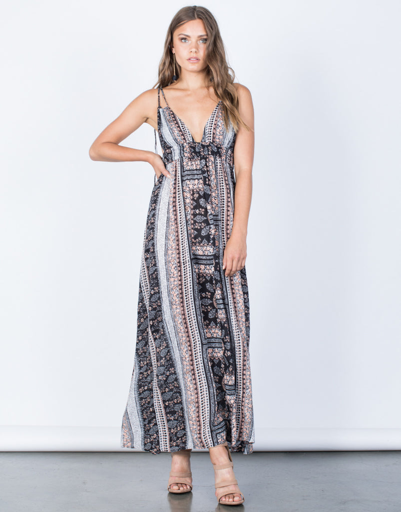 Front View of Melissa Floral Maxi Dress
