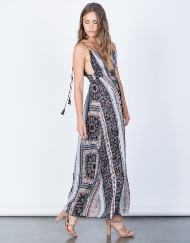 Side View of Melissa Floral Maxi Dress