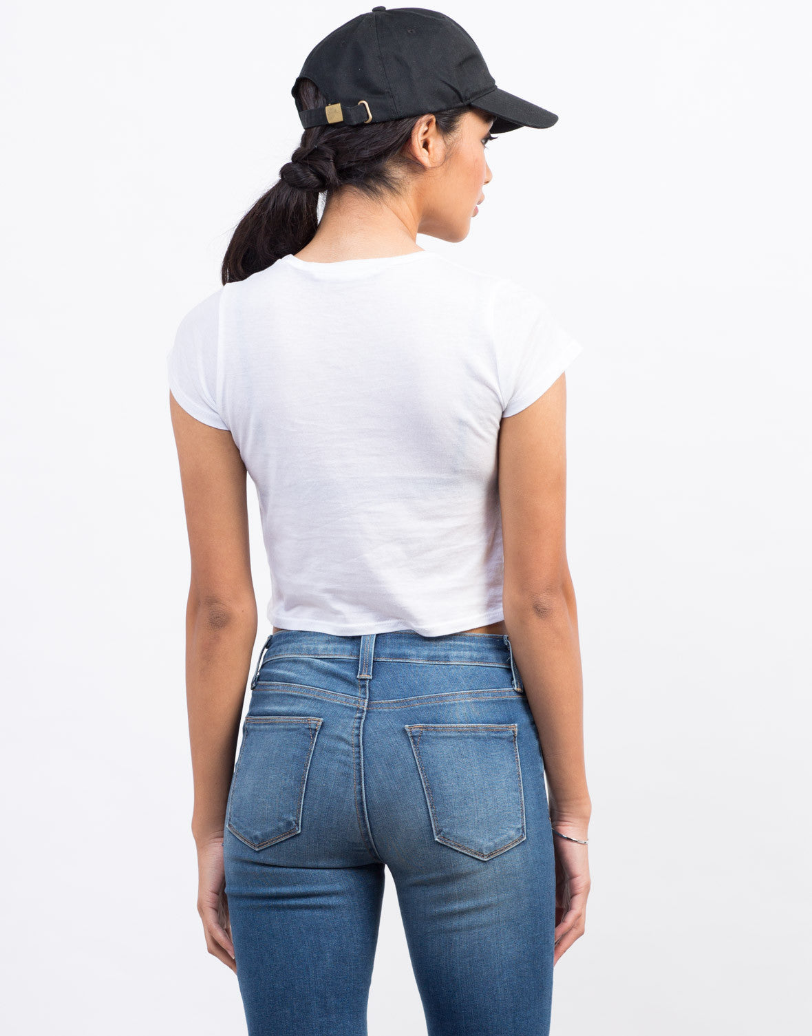 Back View of Mermaid Off Duty Cropped Tee