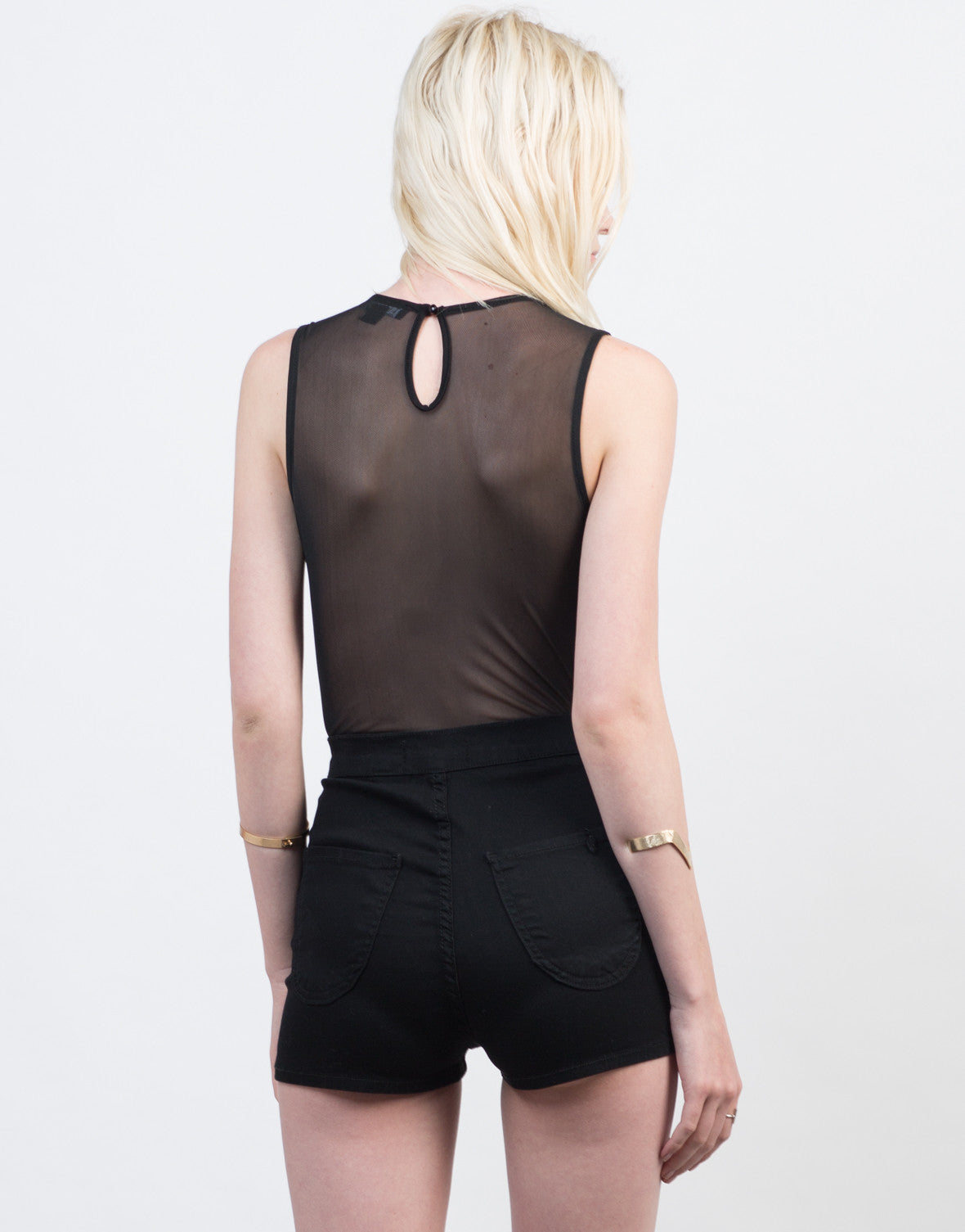 Back View of Mesh and Lace Bodysuit
