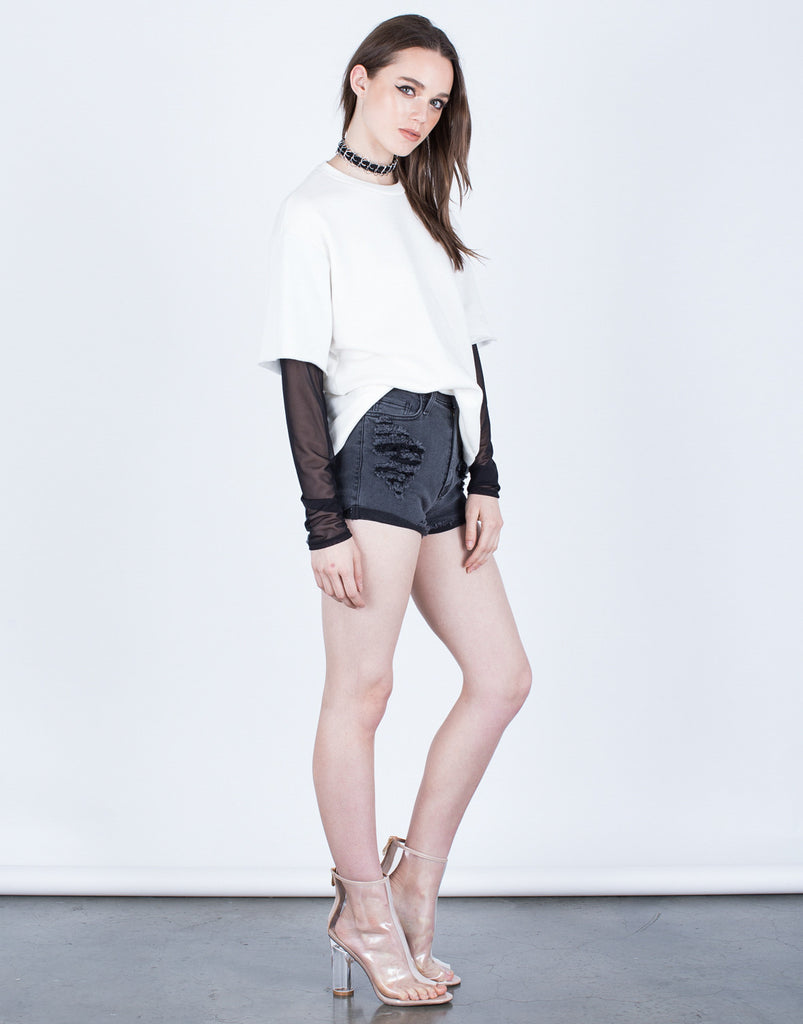 Mesh Contrast Sweater - 2020AVE