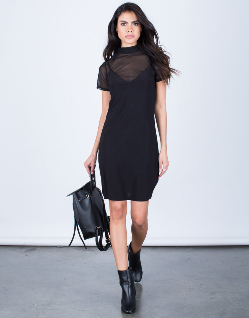 Mesh Contrast Tee Dress - 2020AVE