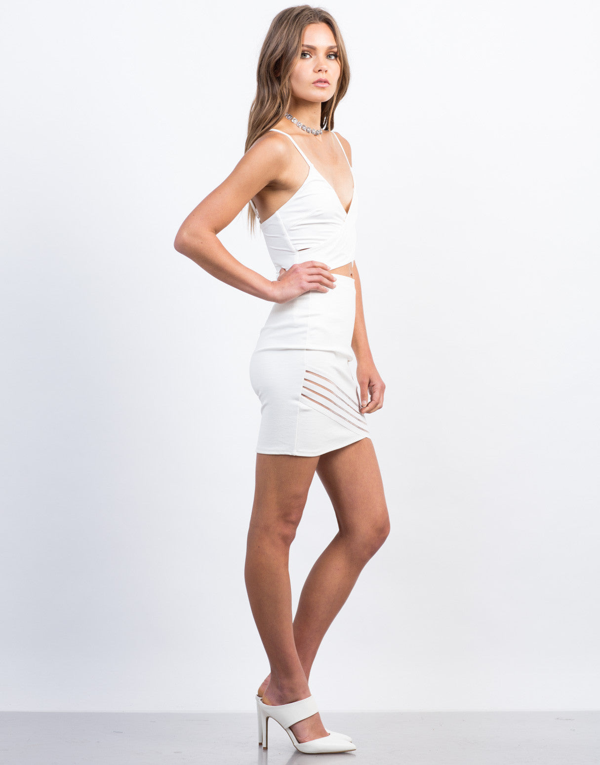 Side View of Mesh Detailed Bodycon Skirt