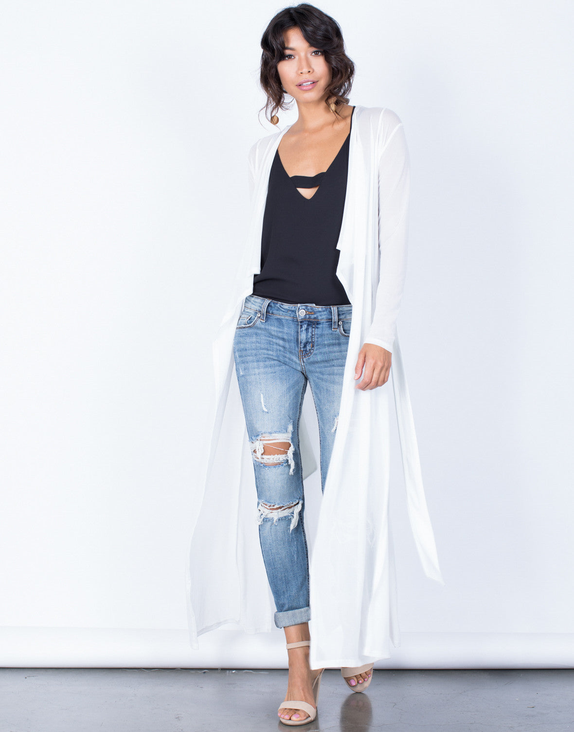 Front View of Mesh Duster Cardigan