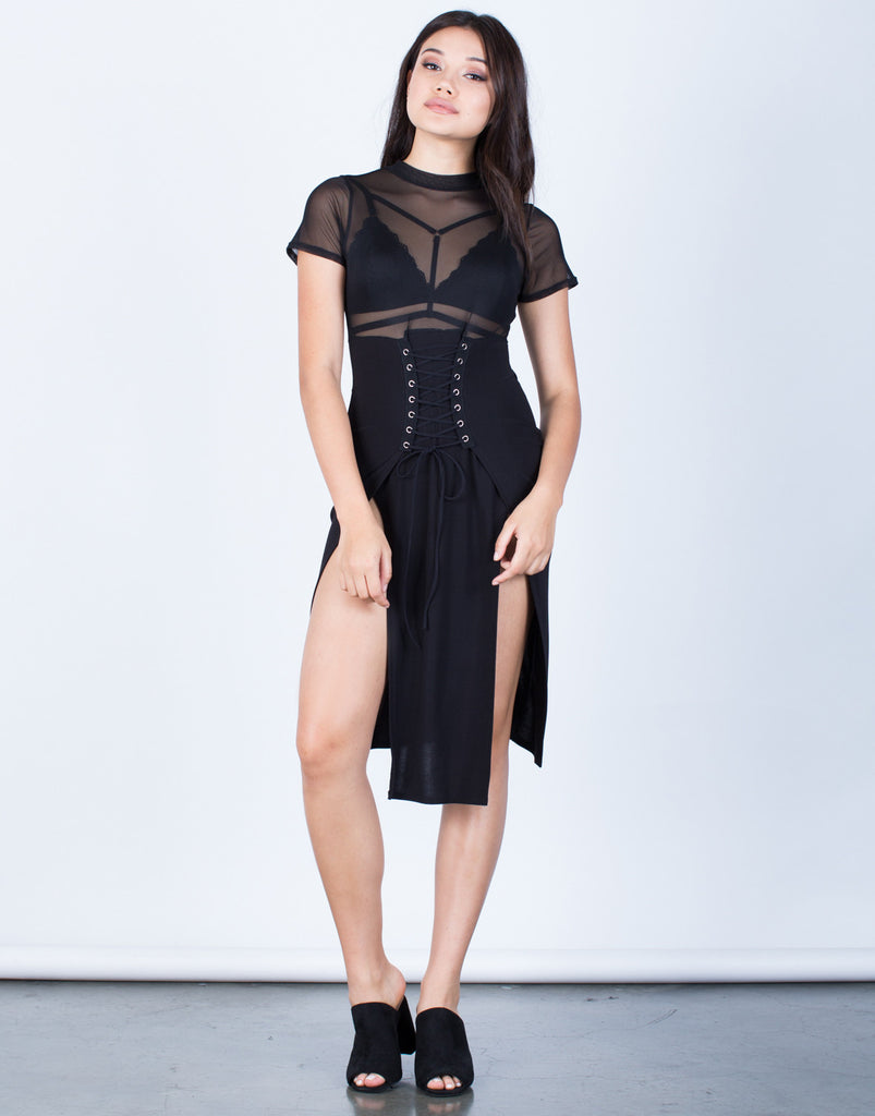 Front View of Mesh Lace-Up Corset Dress