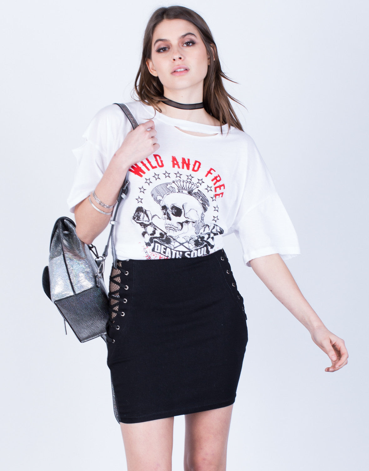 Front View of Mesh Lace-Up Skirt