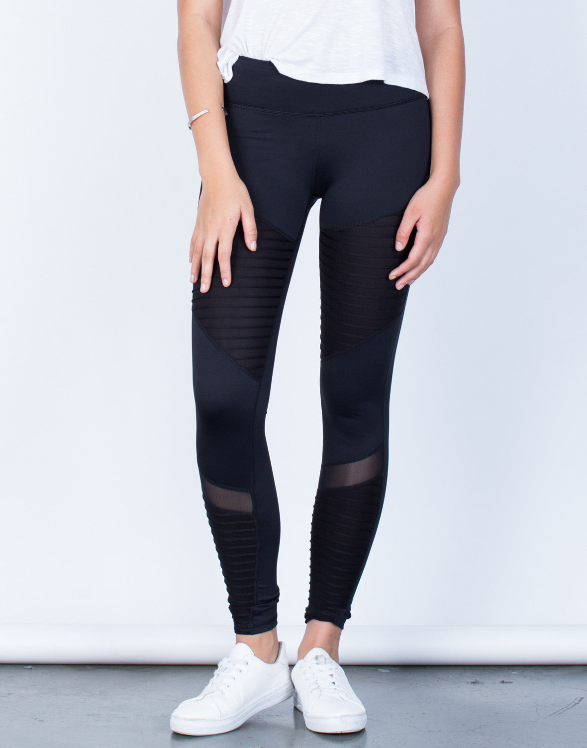 Front View of Mesh Lined Leggings