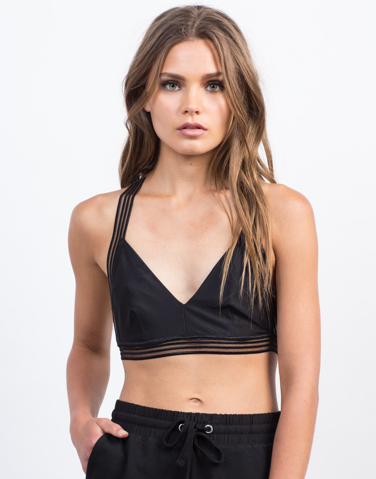 Front View of Mesh Strapped Bralette