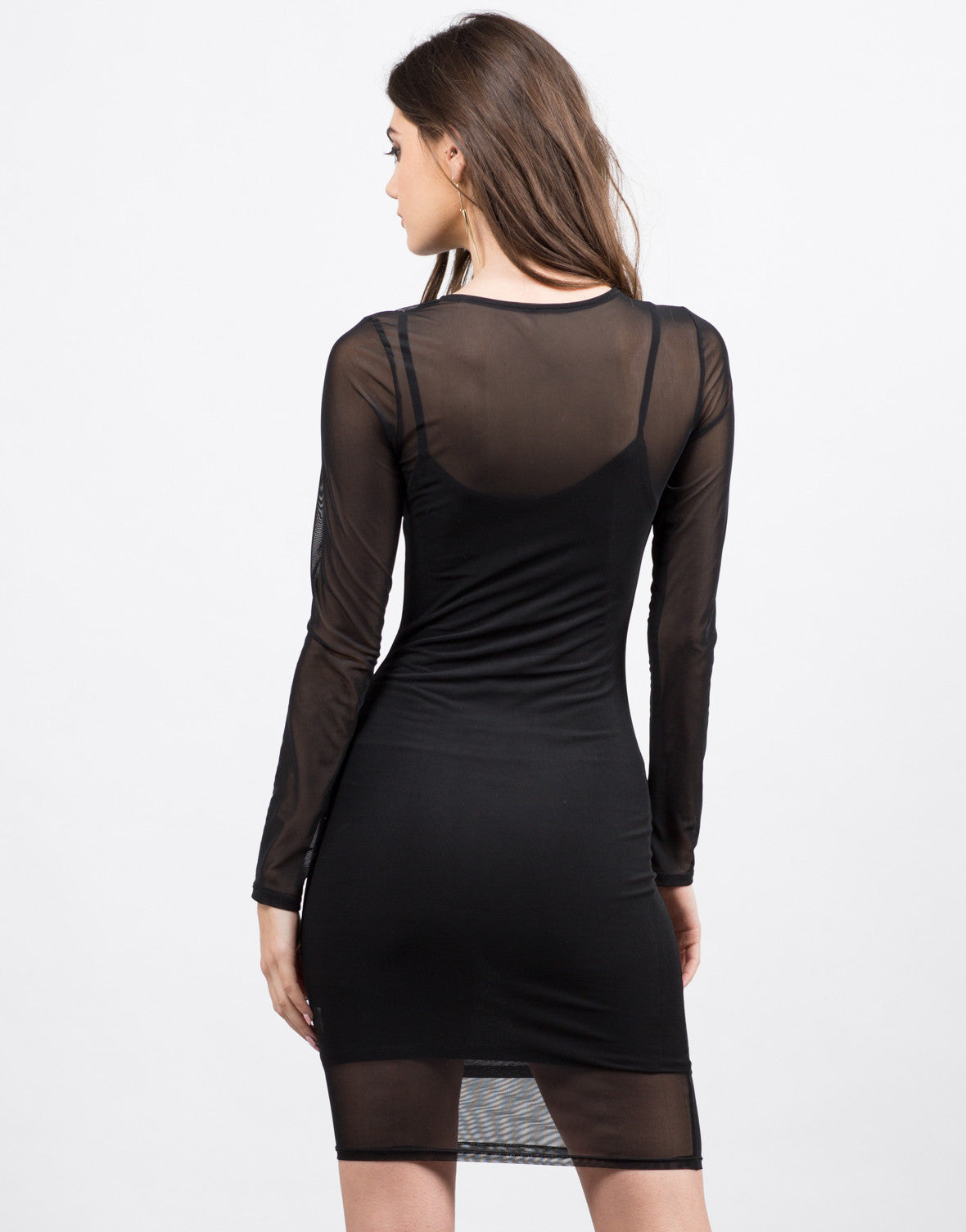 Back View of Mesh Bodycon Dress