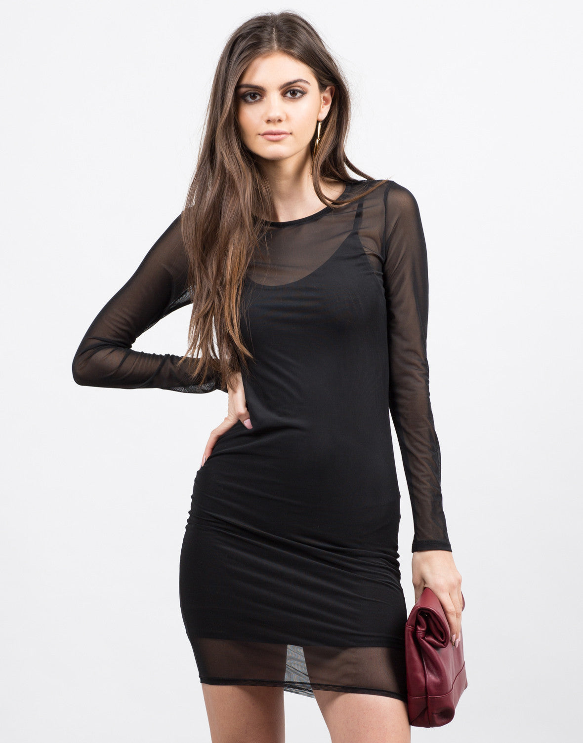 Front View of Mesh Bodycon Dress