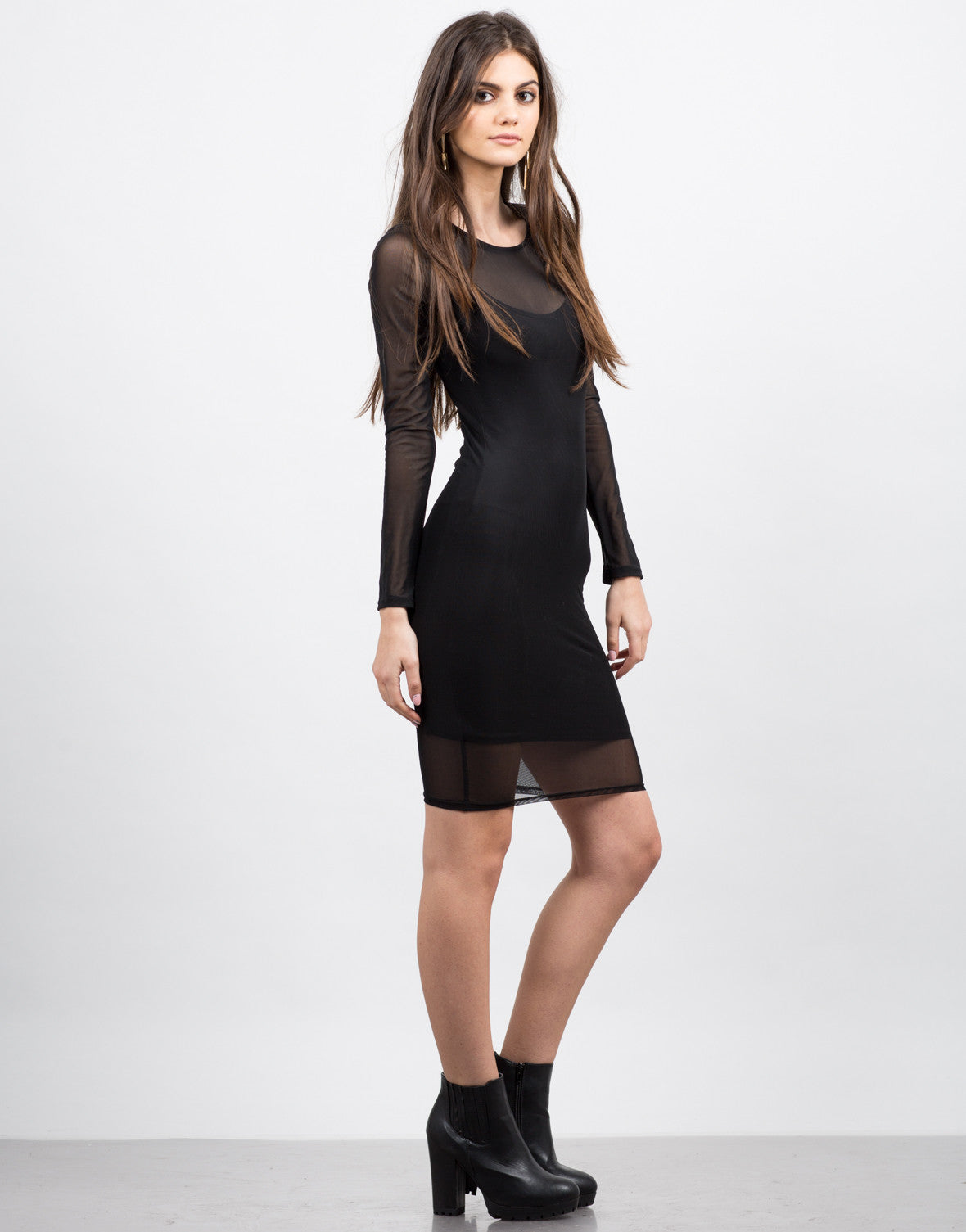 Side View of Mesh Bodycon Dress