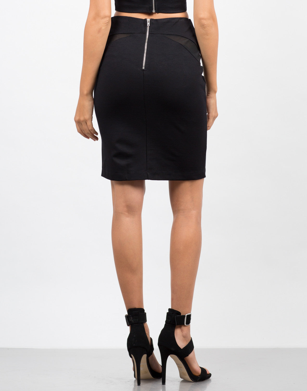 Back View of Mesh Bodycon Skirt