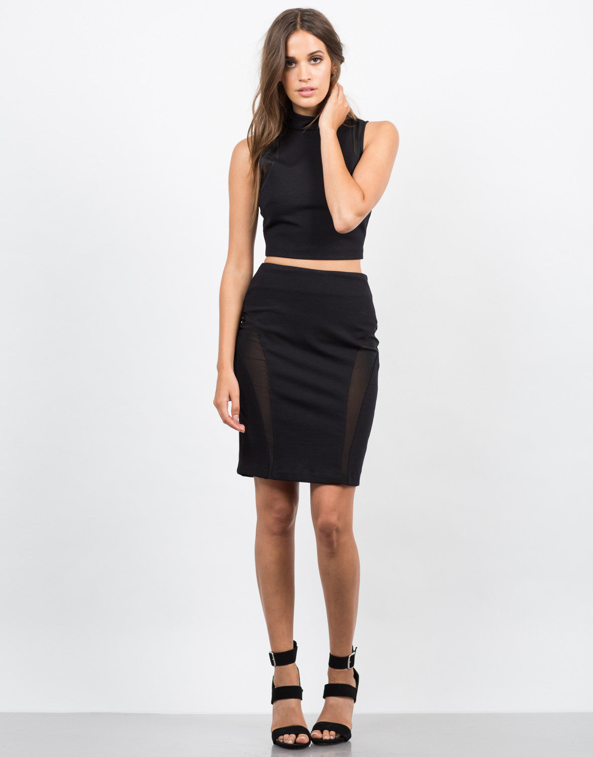 Front View of Mesh Bodycon Skirt