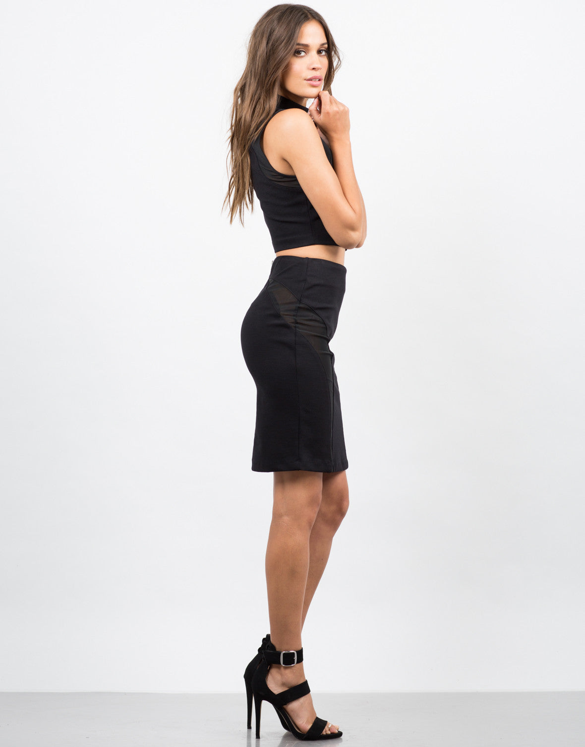 Side View of Mesh Bodycon Skirt