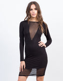Front View of Mesh Contrast Dress