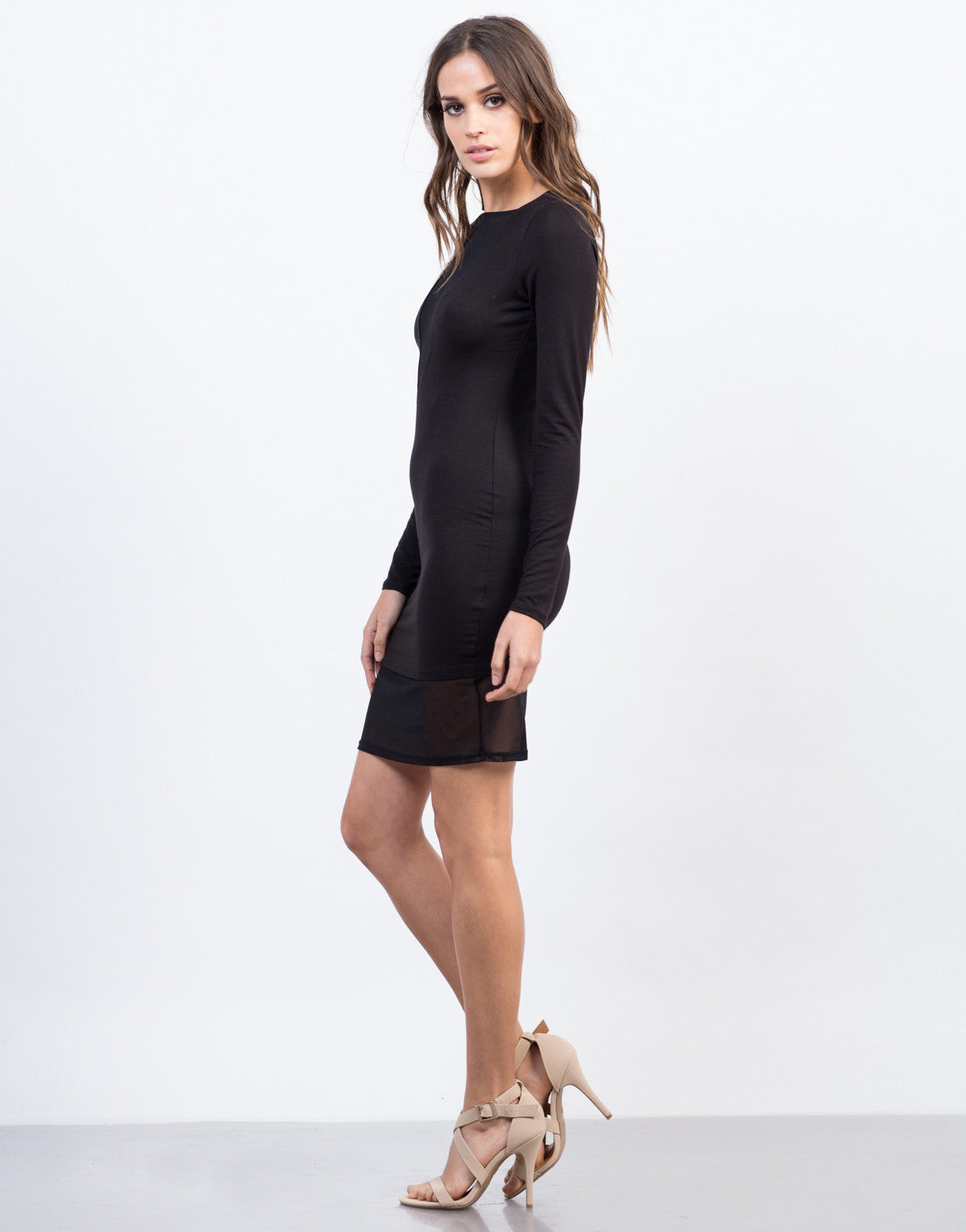 Side View of Mesh Contrast Dress