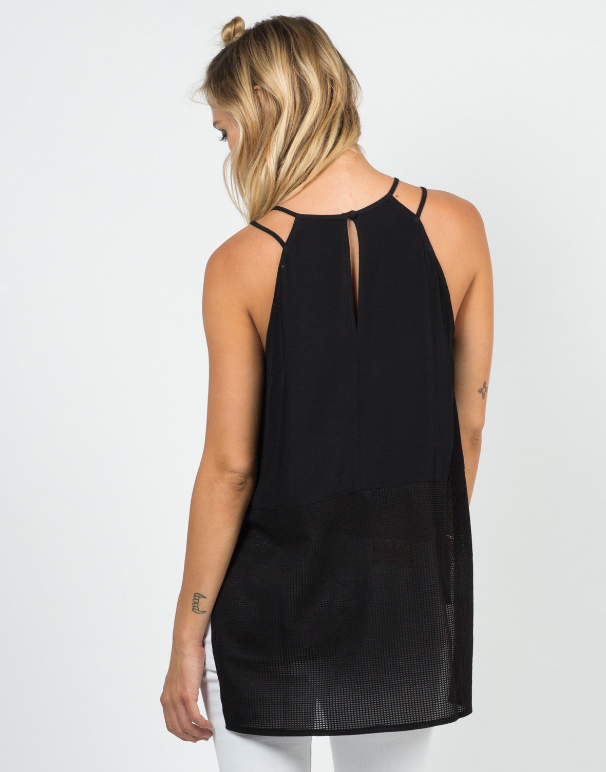 Back View of Mesh Contrast Strappy Tank