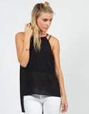 Front View of Mesh Contrast Strappy Tank