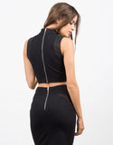 Back View of Mesh High Neck Crop Top