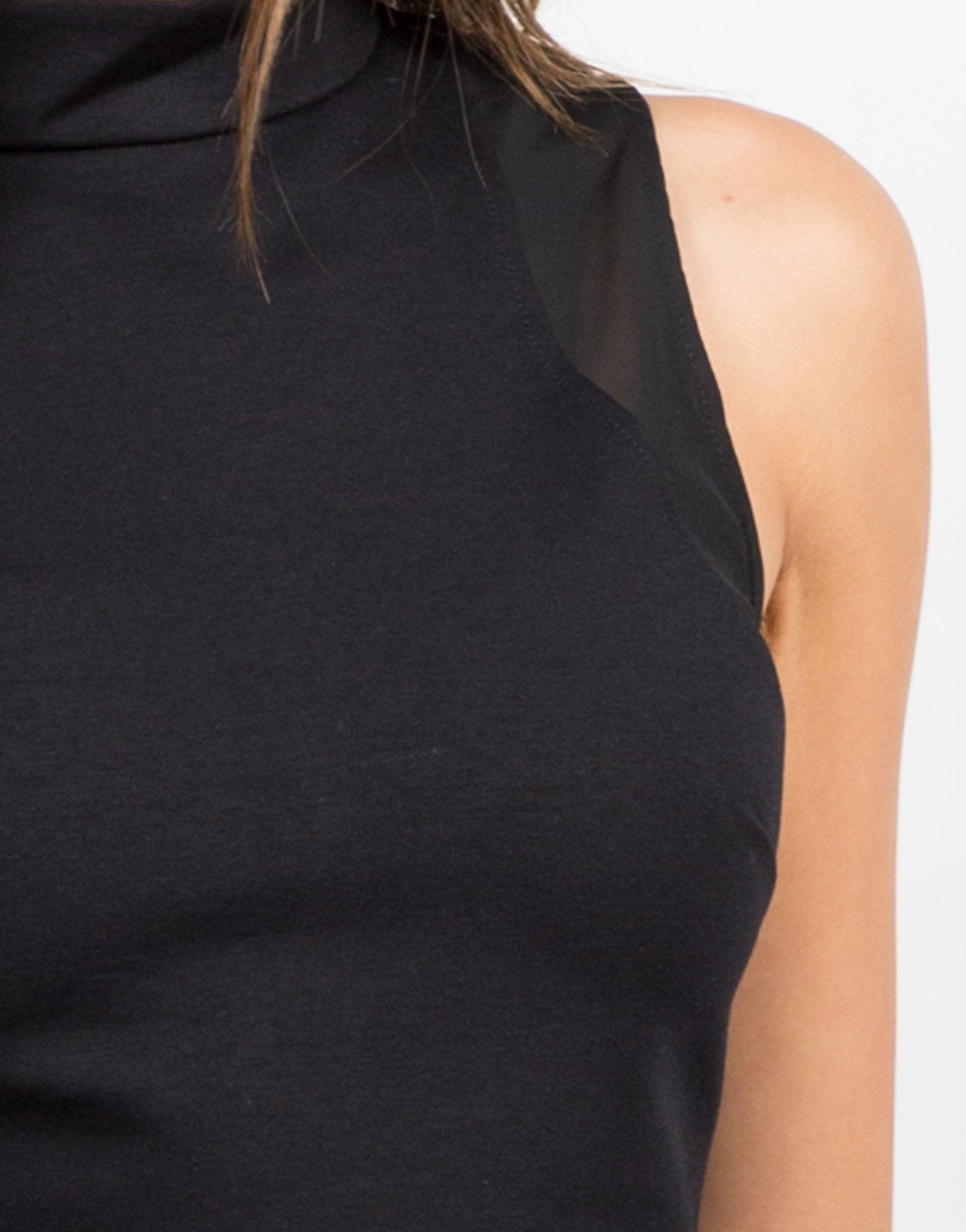 Detail of Mesh High Neck Crop Top