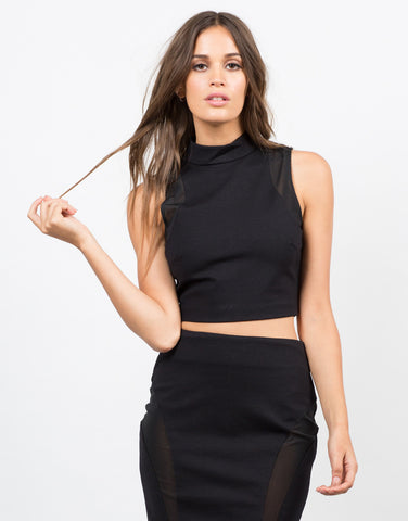 Front View of Mesh High Neck Crop Top