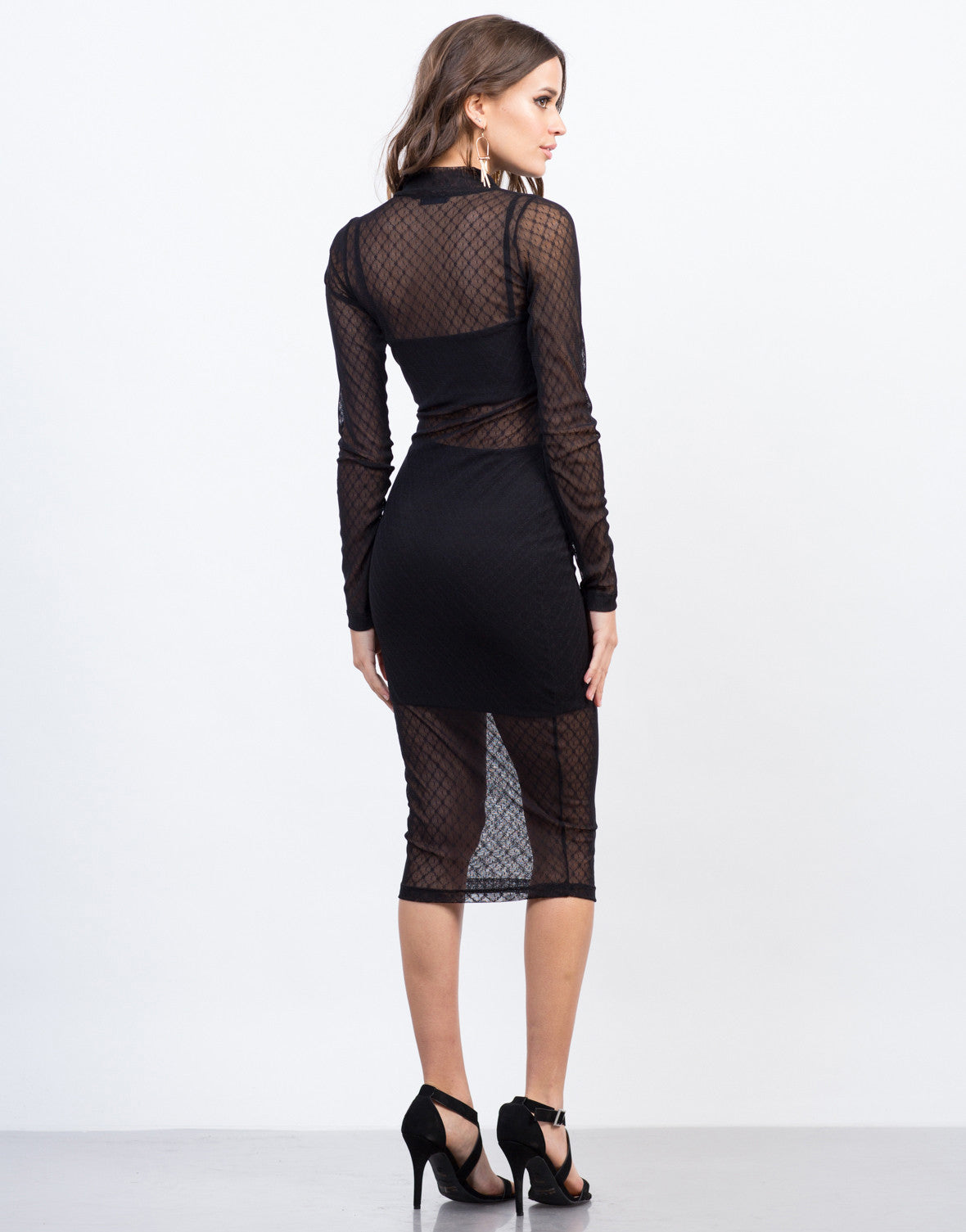 Back View of Mesh Lined Party Dress