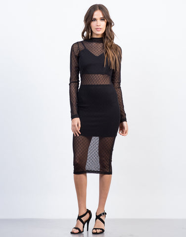 Front View of Mesh Lined Party Dress