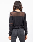Back View of Mesh Sweater Top