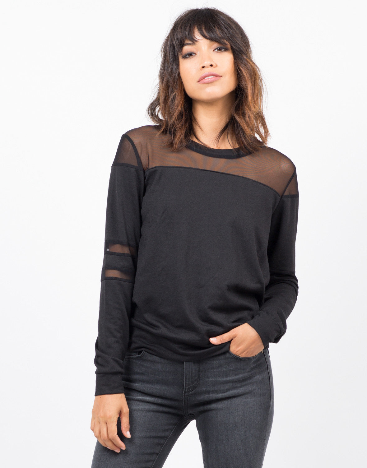Front View of Mesh Sweater Top