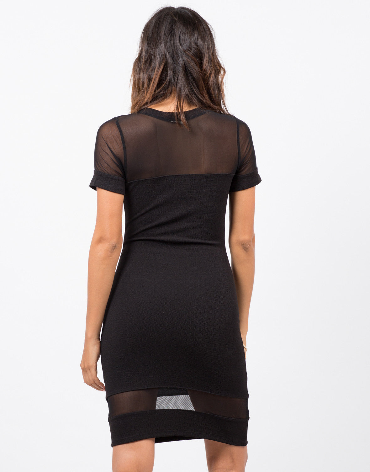 Back View of Meshy Bodycon Dress