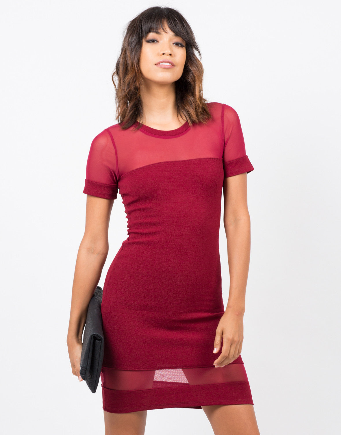 Front View of Meshy Bodycon Dress
