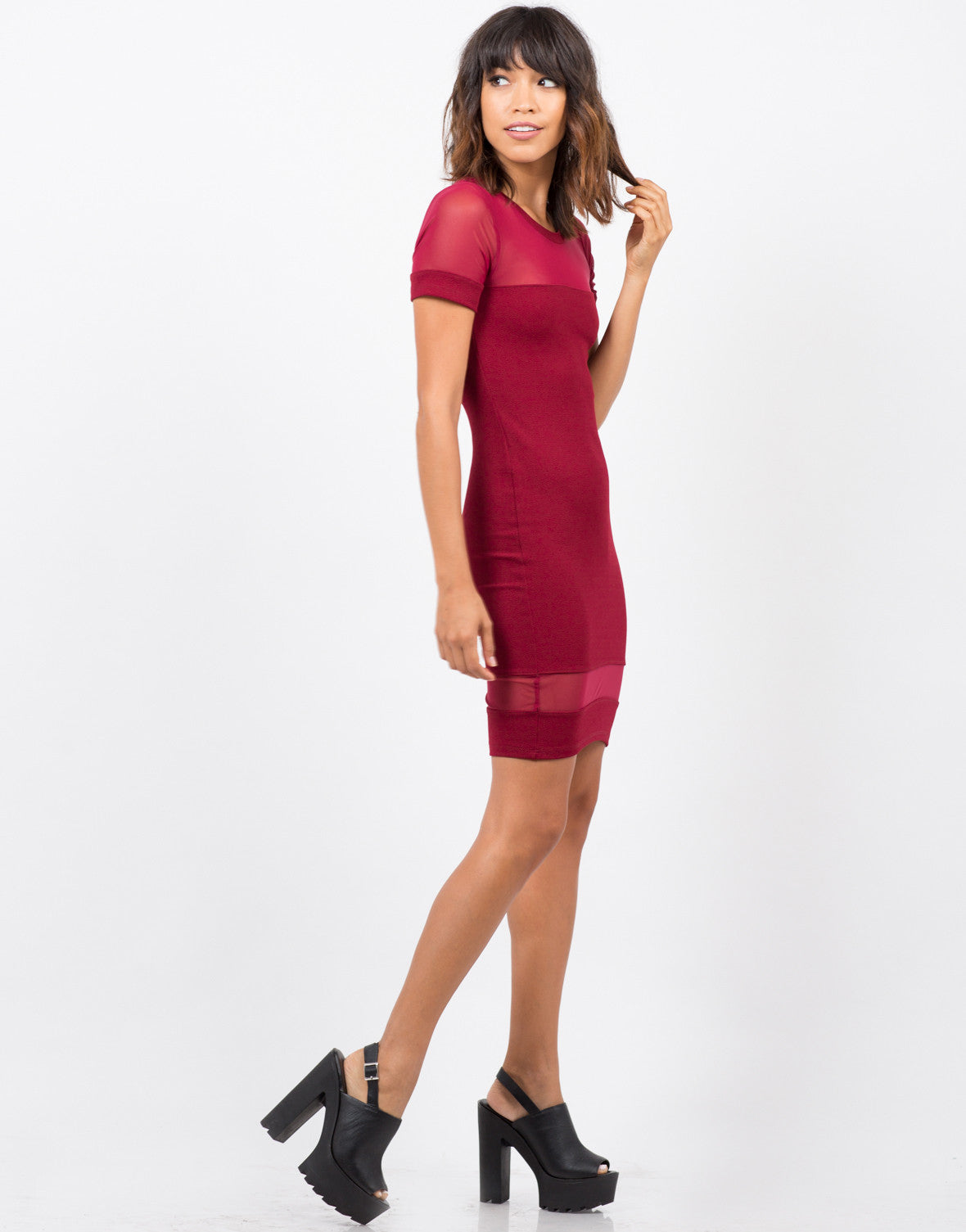 Side View of Meshy Bodycon Dress