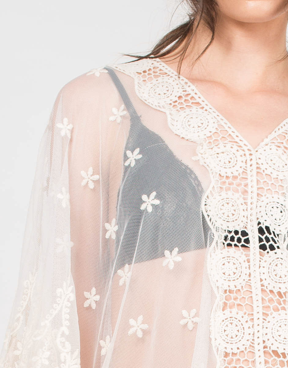 Detail of Meshy Daisies Poncho Top