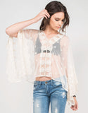 Front View of Meshy Daisies Poncho Top