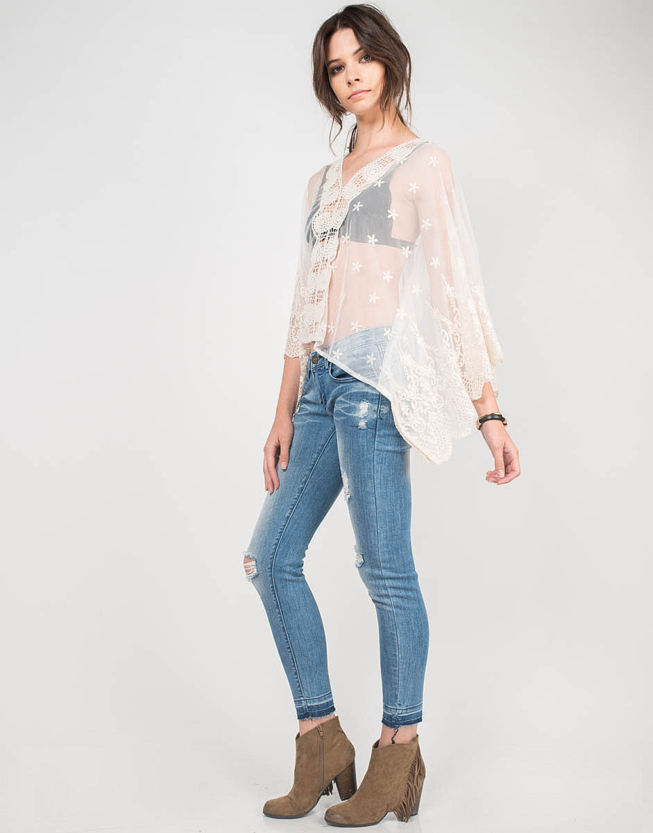 Side View of Meshy Daisies Poncho Top