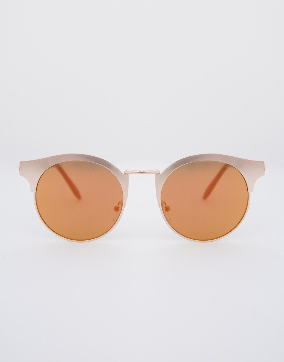 Metal Round Flat Sunglasses