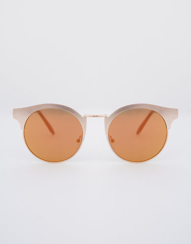 Metal Round Flat Sunglasses - 2020AVE
