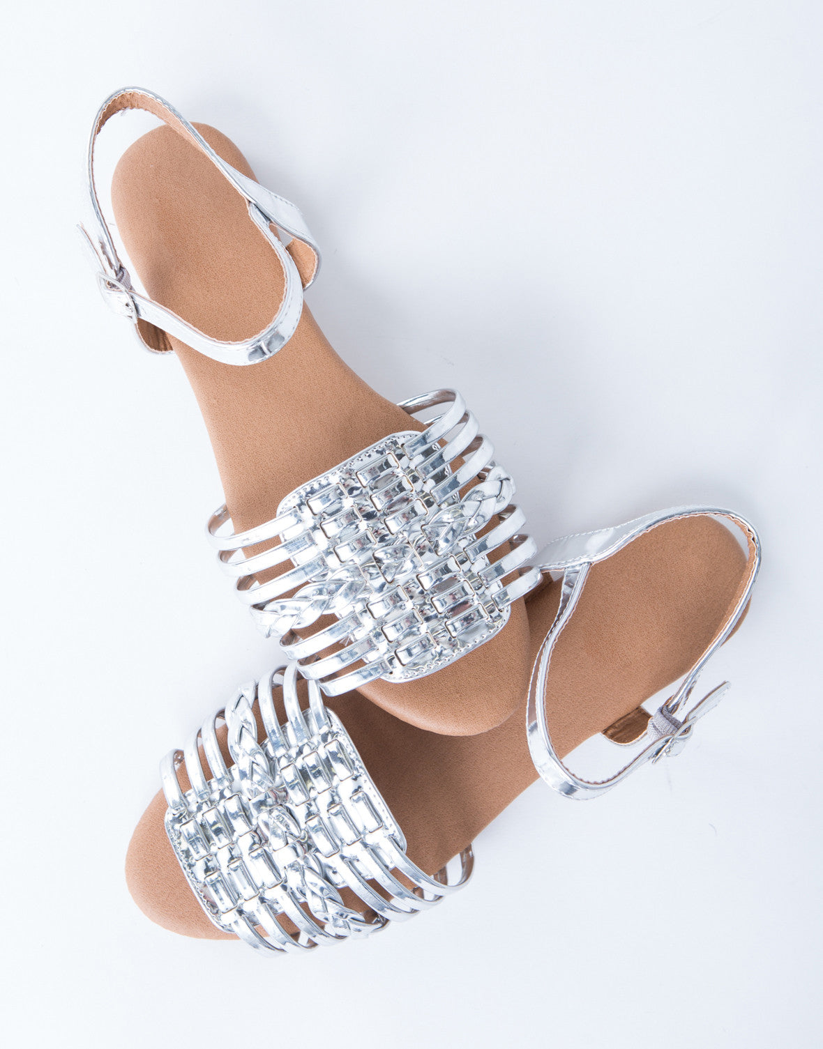 Metallic Ankle Strapped Sandals