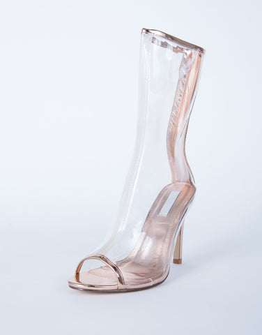 Metallic Clear Heel Boots