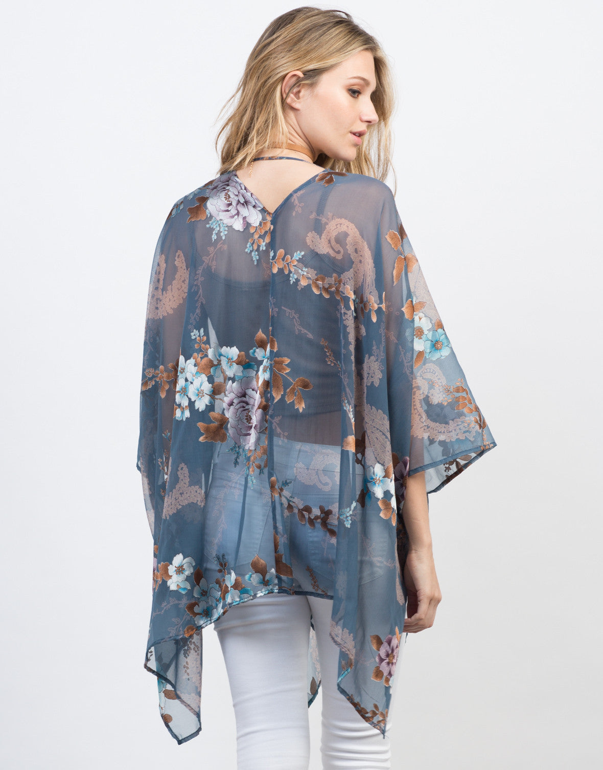 Back View of Metallic Floral Kimono Cardigan