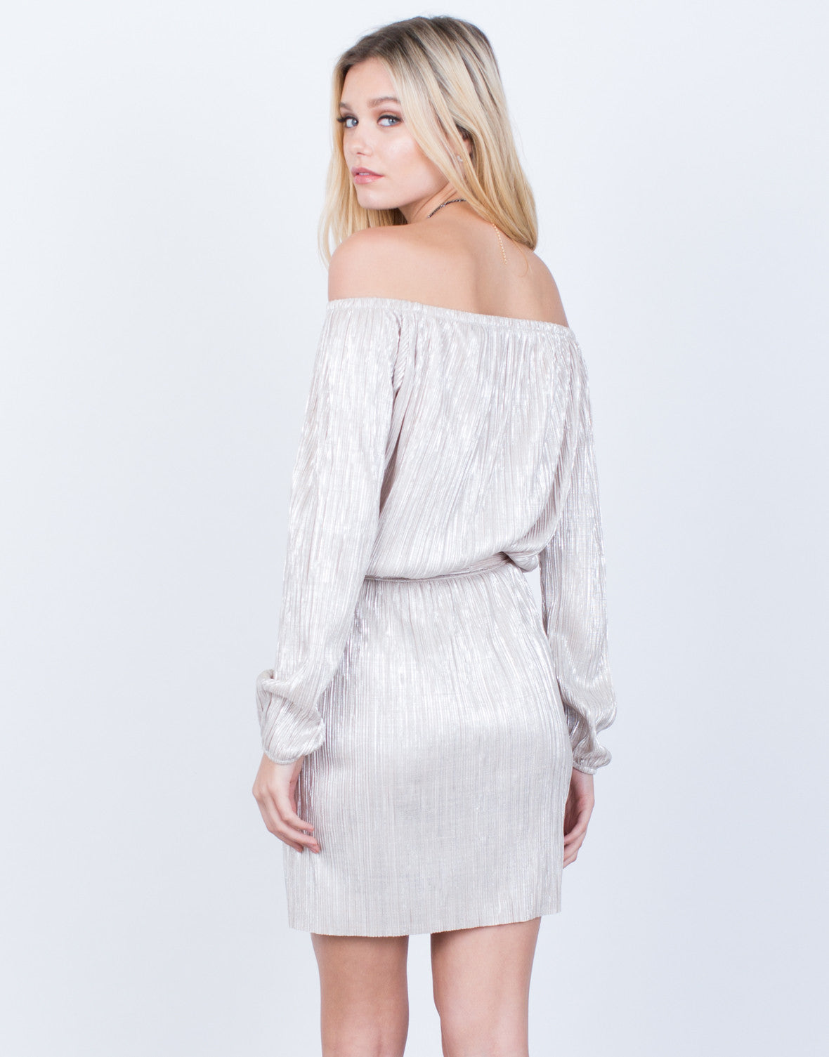Back View of Metallic Off-the-Shoulder Dress