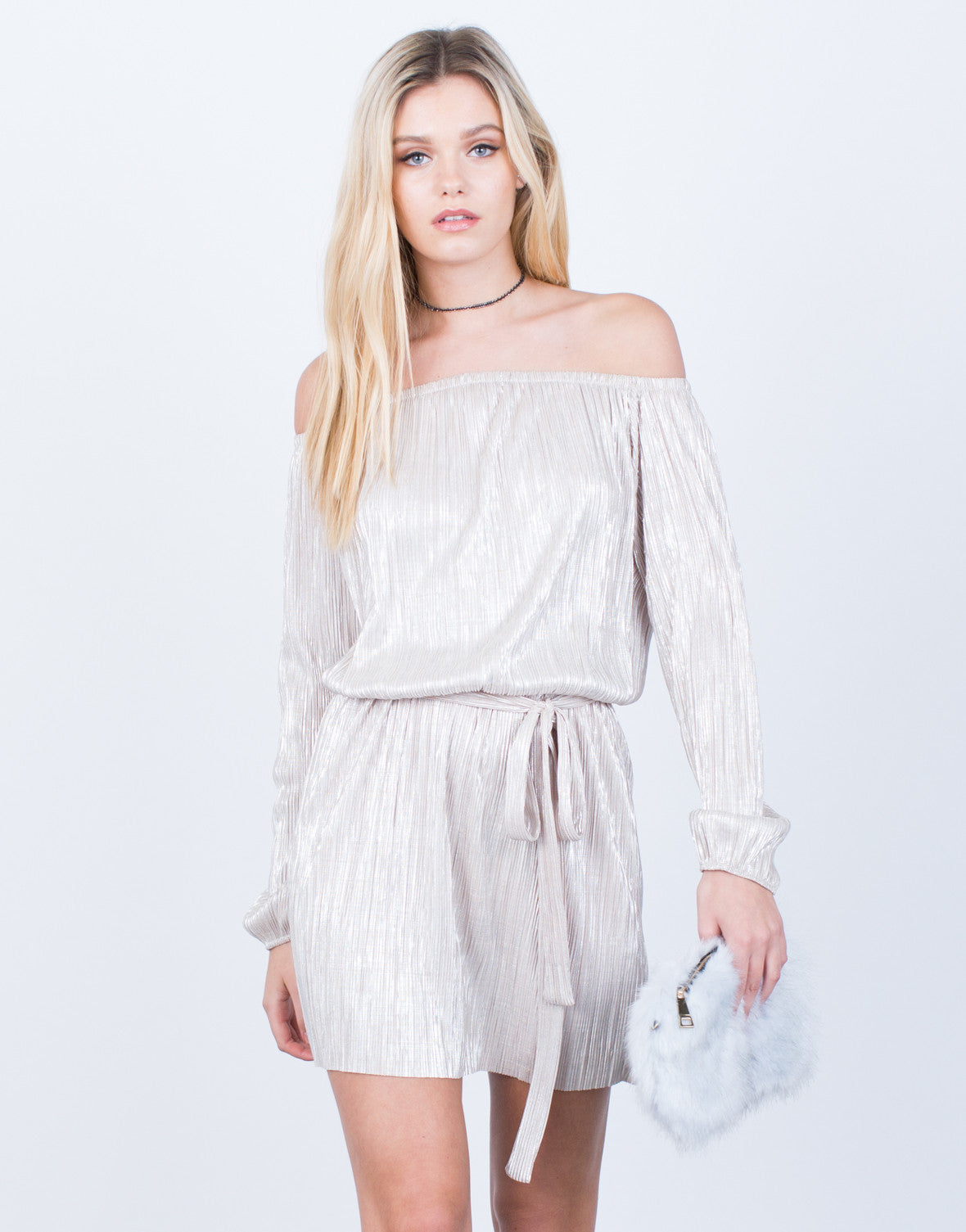 Front View of Metallic Off-the-Shoulder Dress