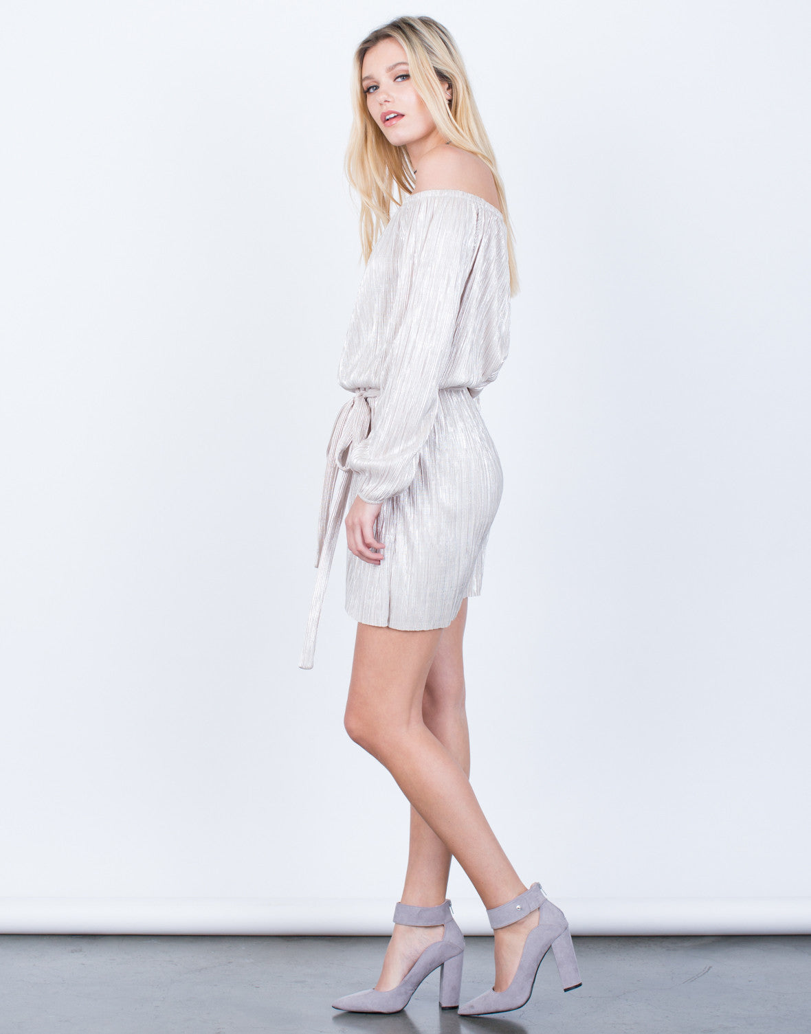 Side View of Metallic Off-the-Shoulder Dress