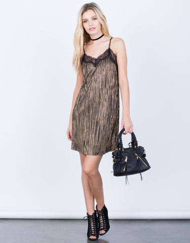Front View of Metallic Sparkly Slip Dress