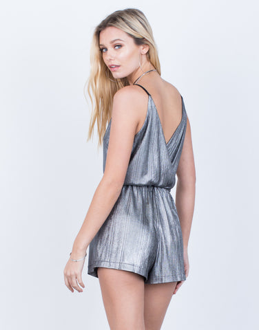 Back View of Metallic V-Neck Romper