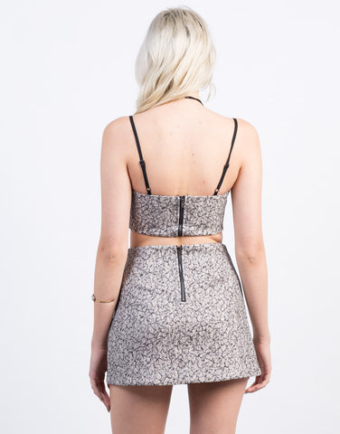 Back View of Metallic Woven Jacquard Crop Top